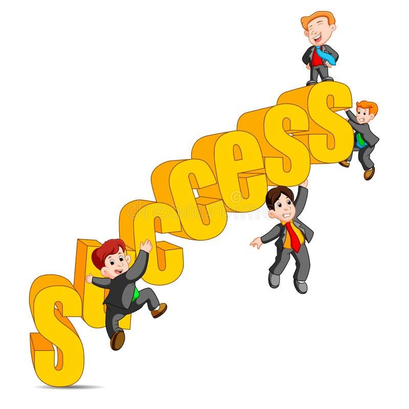 Erfolg im glücklichen Mann des Geschäftskonzeptes, der auf den Worterfolg steht vektor abbildung