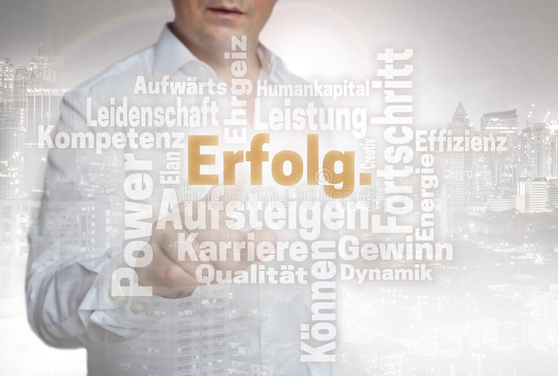 Erfolg Wordcloud in german success touchscreen is operated by. Man royalty free stock images