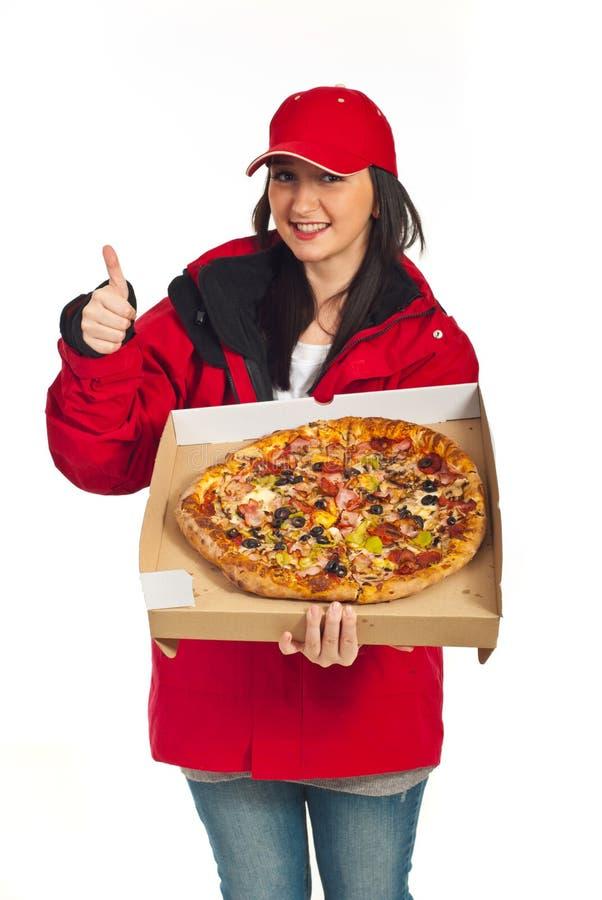 Erfolgreiche Anlieferungspizza lizenzfreie stockbilder