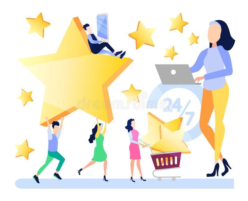 Erfolgreiche Arbeit, Feedback, die Online-Shop-Bewertung, 5 Punkte veranschlagend, Leute verlassen on-line-Berichte über Produkte vektor abbildung