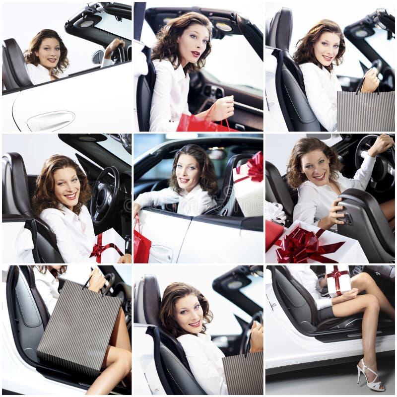 Erfolgreiche Frau des Mosaiks mit Auto und Geschenk stockfoto
