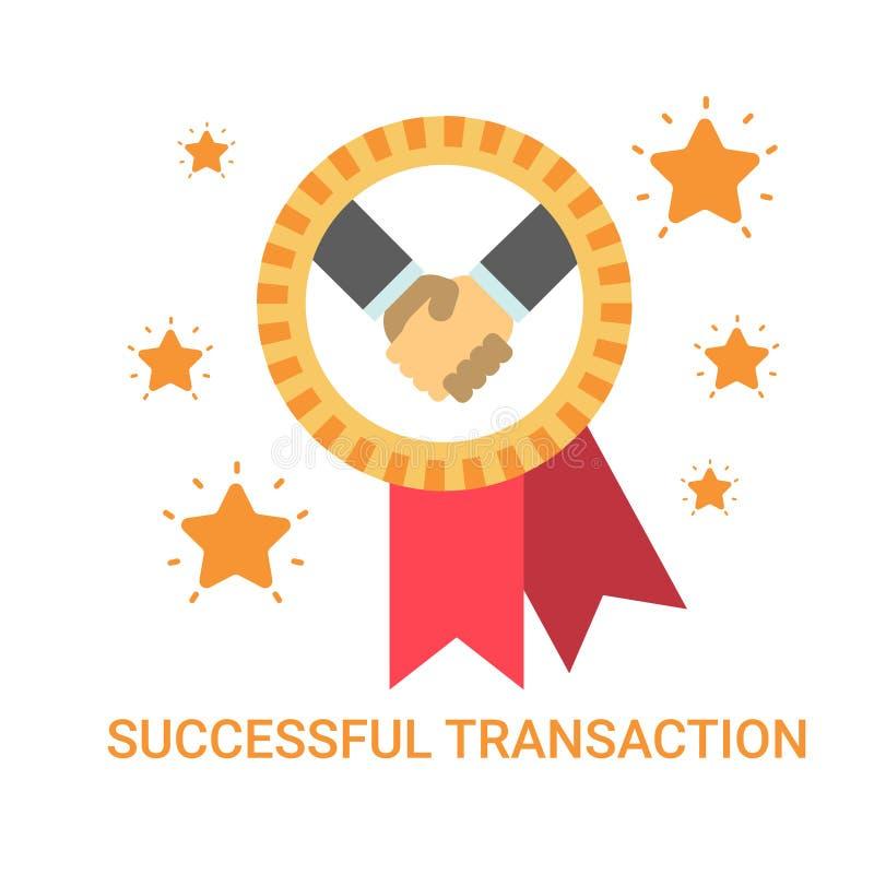 Erfolgreiche Geschäfts-Ikonen-Geschäftsmann-Händedruck-Abkommen-Vereinbarungs-Fahne stock abbildung