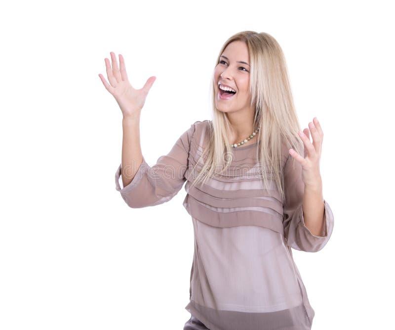 Erfolgreiche Geschäftsfrau - springend für die Freude lokalisiert auf weißem Ba stockfotografie