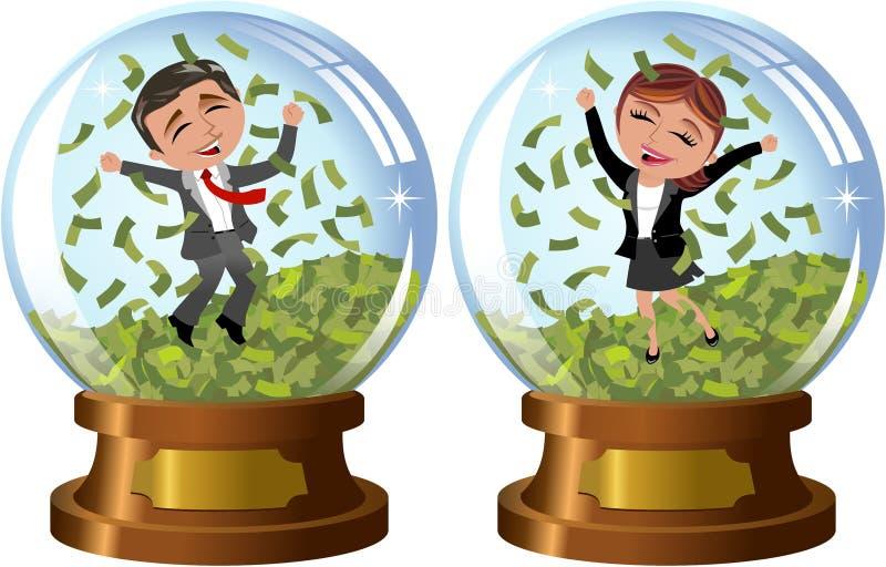 Erfolgreiche Geschäftsfrau und Mann unter Geld-Regen lizenzfreie abbildung