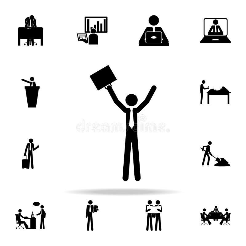 erfolgreiche Geschäftsmannikone Leute im Arbeitsikonen-Universalsatz für Netz und Mobile vektor abbildung