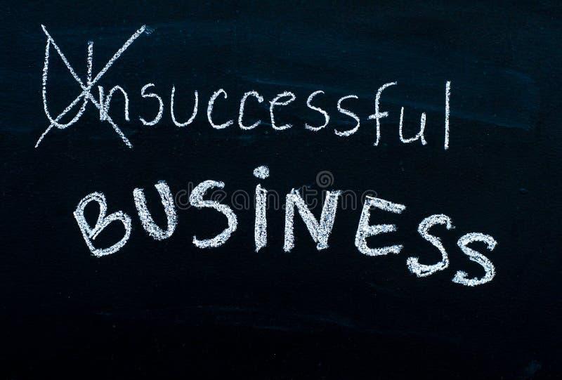 Erfolgreiche Geschäftsmitteilung drehte sich von erfolglosem, handgeschrieben mit weißer Kreide auf Tafel stockbild
