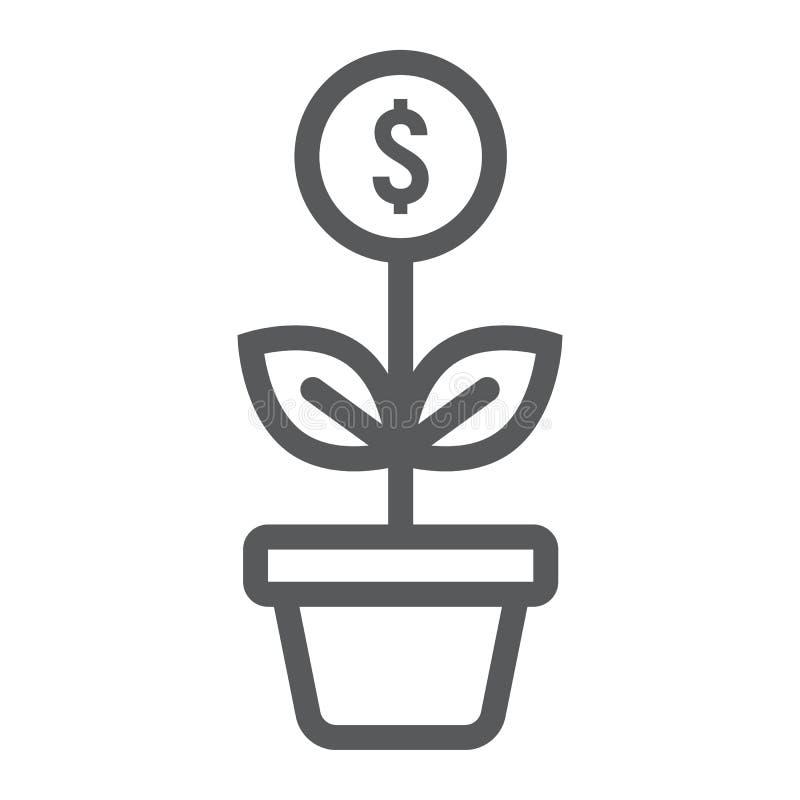 Erfolgreiche Investitionslinie Ikone, Entwicklung vektor abbildung