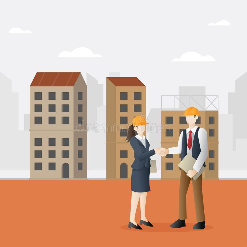 Erfolgreiche Partnerschaft im Baugewerbe lizenzfreie abbildung