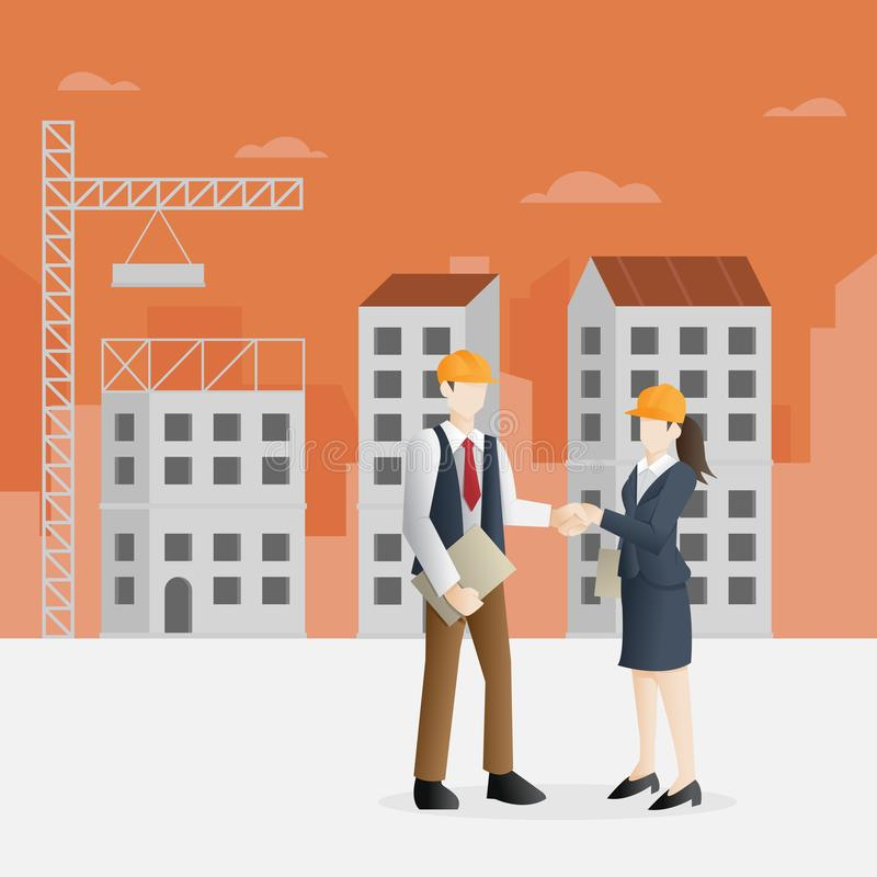 Erfolgreiche Partnerschaft im Baugewerbe stock abbildung