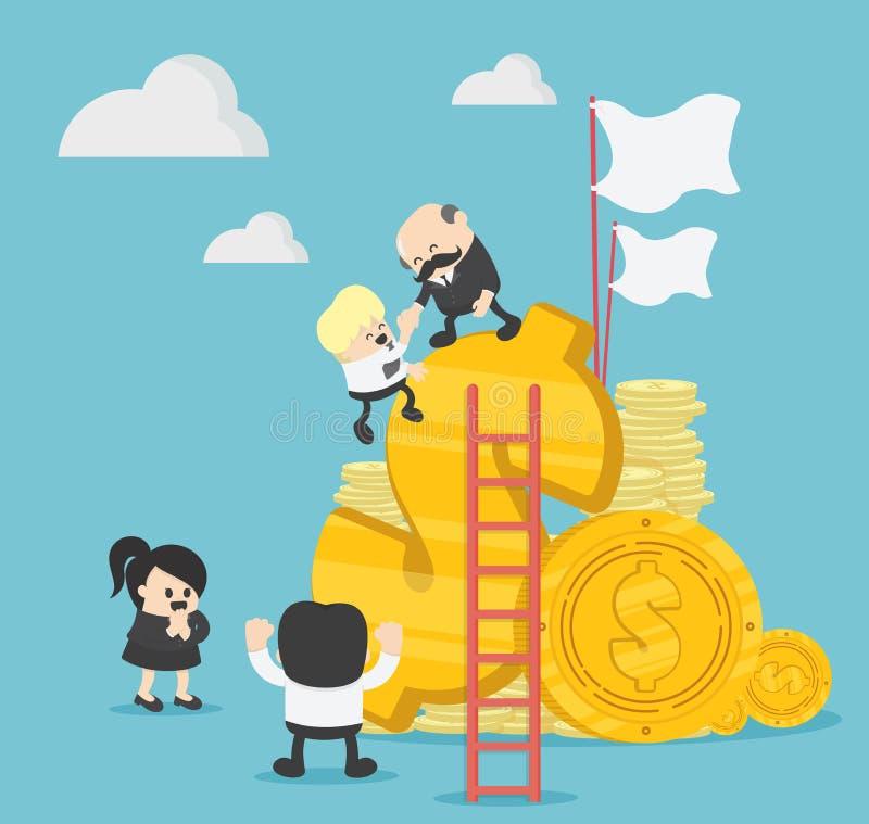 Erfolgreiche Teamwork-Ideen auf dem Gebiet der Arbeit, mithilfe stock abbildung