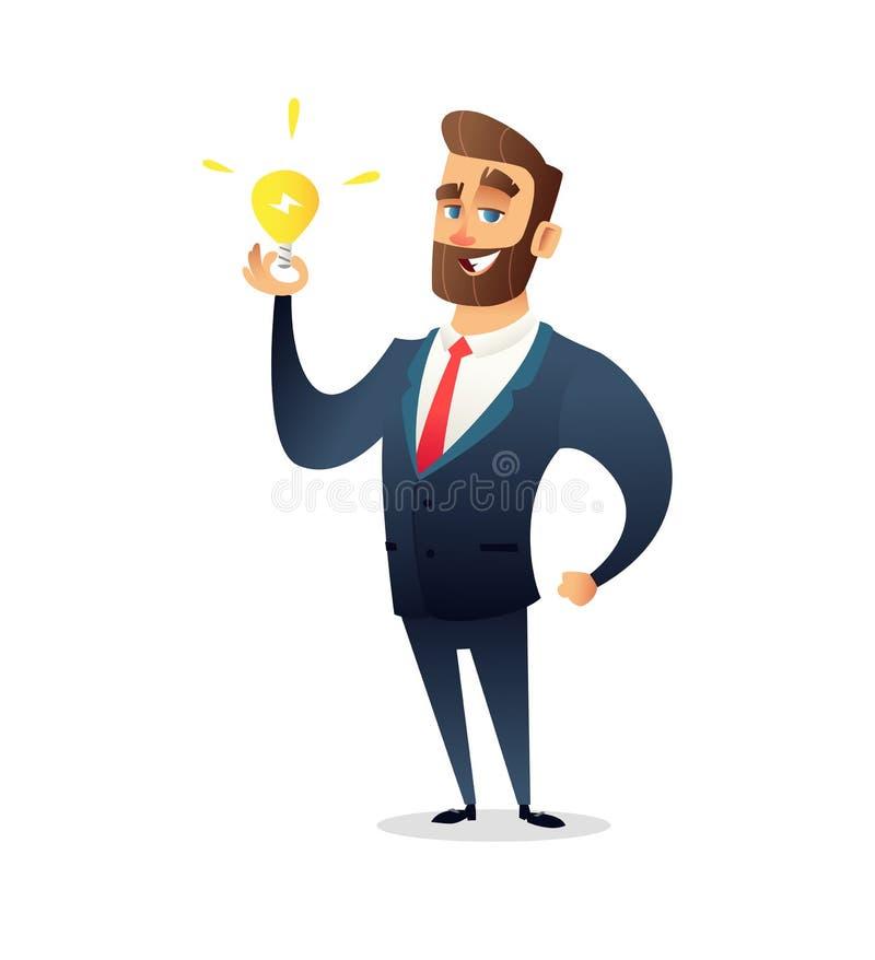 Erfolgreicher Bartgeschäftsmanncharakter, der Glühlampe hält Großes Ideenkonzept Symbol des Habens von Geschäftsinspiration lizenzfreie abbildung