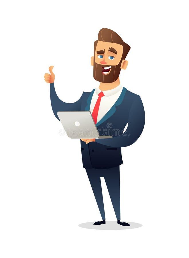 Erfolgreicher Bartgeschäftsmanncharakter in der Klage, die einen Laptop hält und gibt Daumen auf Keine Transparenz vektor abbildung