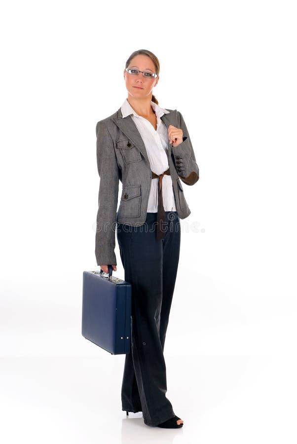 Erfolgreicher Geschäftsfrauaktenkoffer stockfotos
