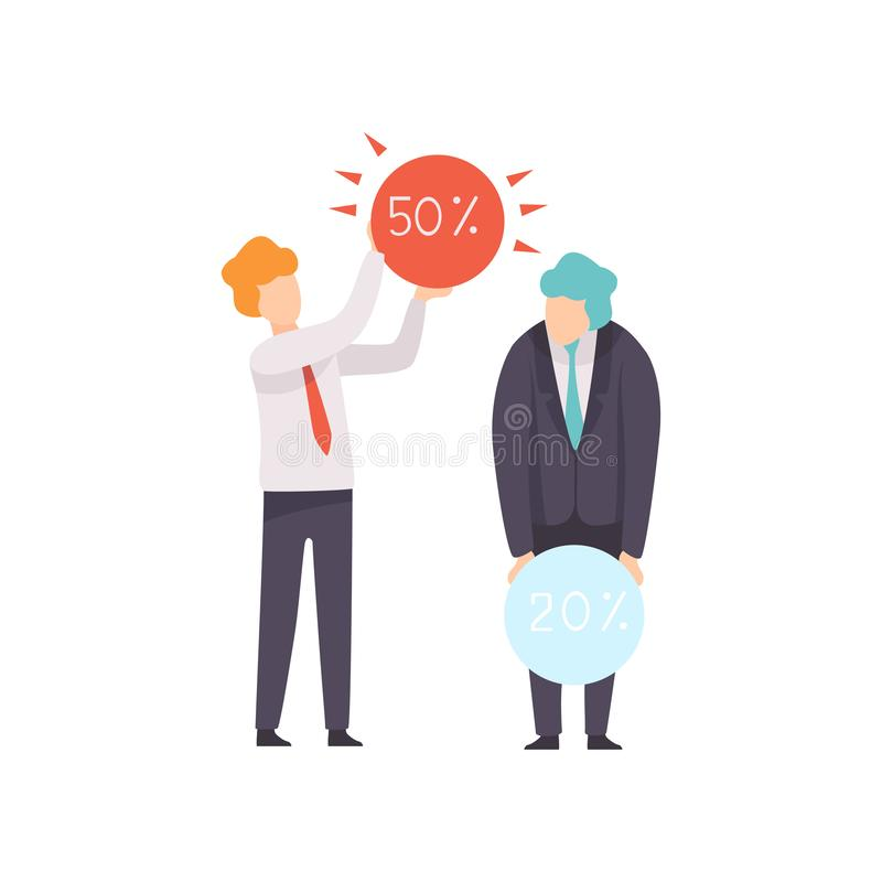Erfolgreicher Geschäftsmann Completed Tasks, Geschäfts-Wettbewerb, Rivalität zwischen Kollegen, Büroangestellt-Herausforderung stock abbildung