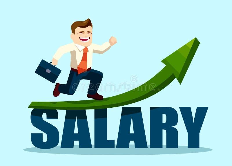 Erfolgreicher Geschäftsmann, der auf dem Gehaltspfeildiagramm steigt läuft stock abbildung