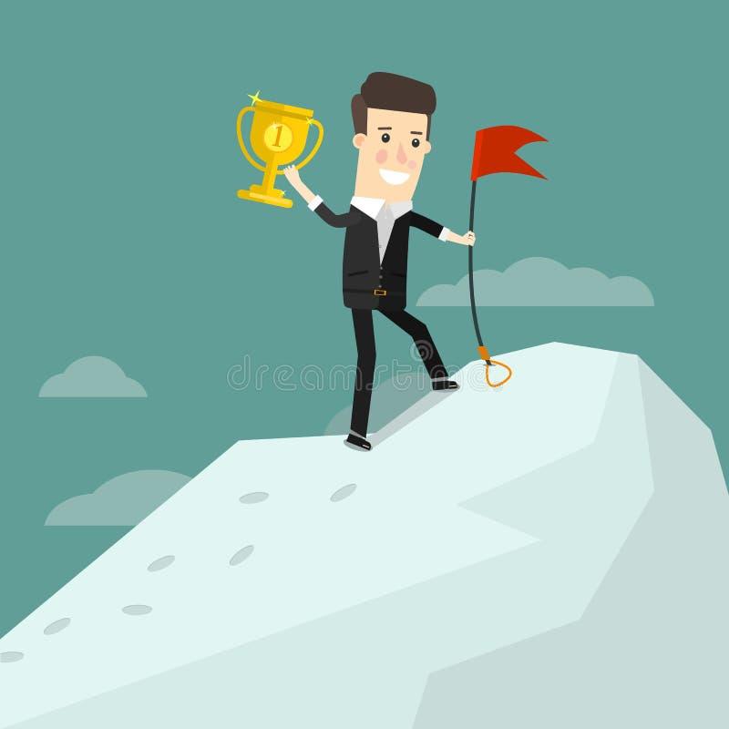 Erfolgreicher Geschäftsmann, der auf eine Bergspitze mit einem Cupsieger steht Geschäftskonzept-Karikaturillustration stock abbildung