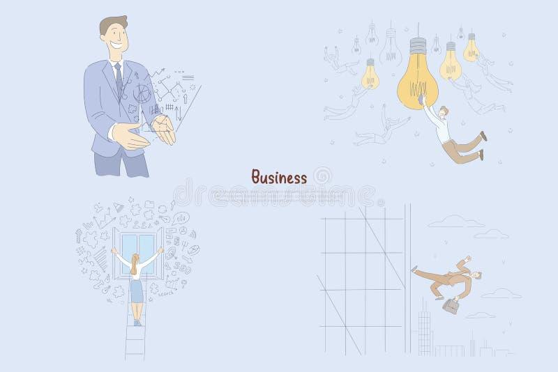 Erfolgreicher Geschäftsmann, der Ideen erzeugen, Mann und weibliche Unternehmer, die Geschäftsprojektfahne planen und handhaben lizenzfreie abbildung
