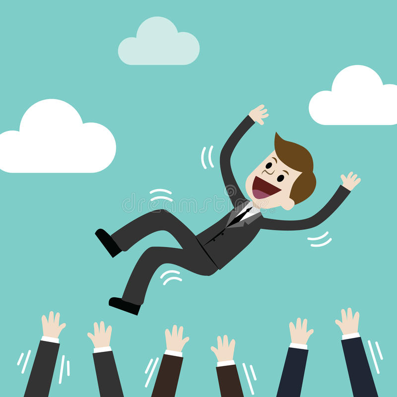 Erfolgreicher Geschäftsmann, der oben durch sein Team wirft Gefühl und Gefühl über Erfolg und Team arbeiten stockbilder