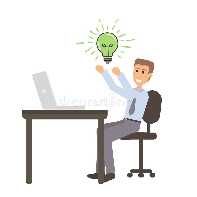 Erfolgreicher Geschäftsmann mit der Idee, die auf Schreibtisch mit Laptop sitzt Flache Illustration der Karikatur, die Geld auf e vektor abbildung