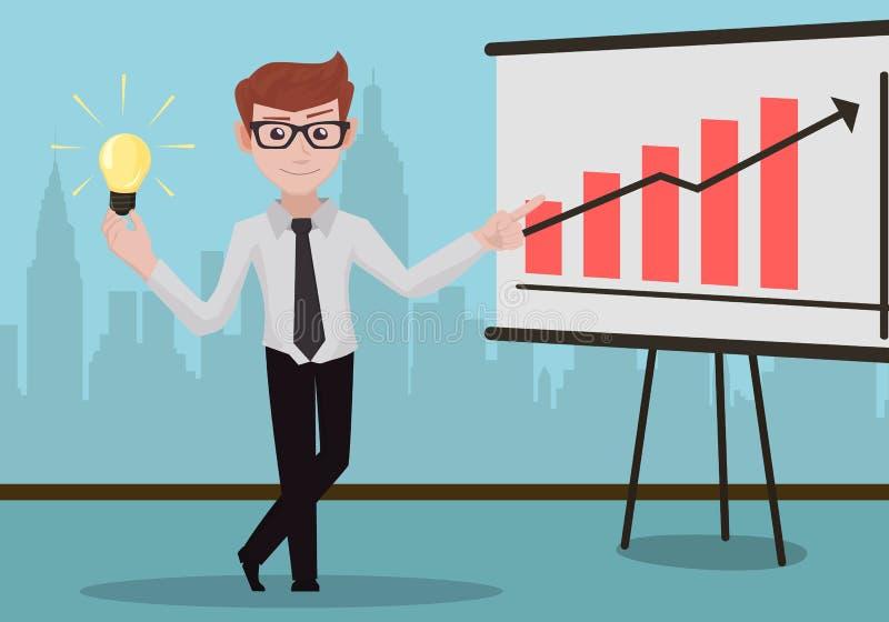 Erfolgreicher Geschäftsmann mit infographic Schreibtisch vektor abbildung