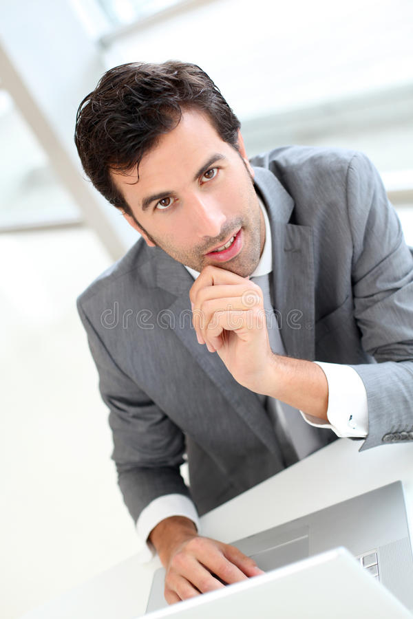 Erfolgreicher Geschäftsmann mit Laptop lizenzfreies stockbild