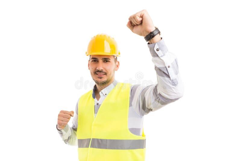 Erfolgreicher Ingenieur Architekt oder Erbauer, die glücklich fungieren und cheerf lizenzfreies stockfoto