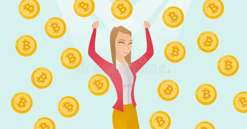 Erfolgreicher Investor, der unter bitcoin Regen steht lizenzfreie abbildung