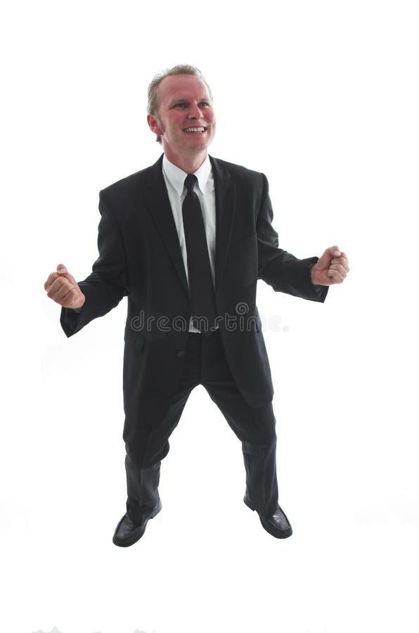 Erfolgreicher Mann in der schwarzen Klage lizenzfreie stockfotos