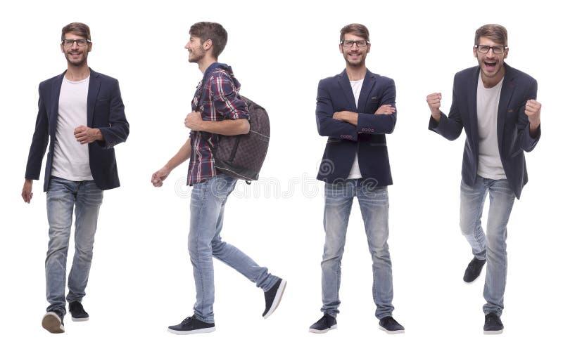 Erfolgreicher moderner junger Mann der Fotocollage Lokalisiert auf Weiß stockbild
