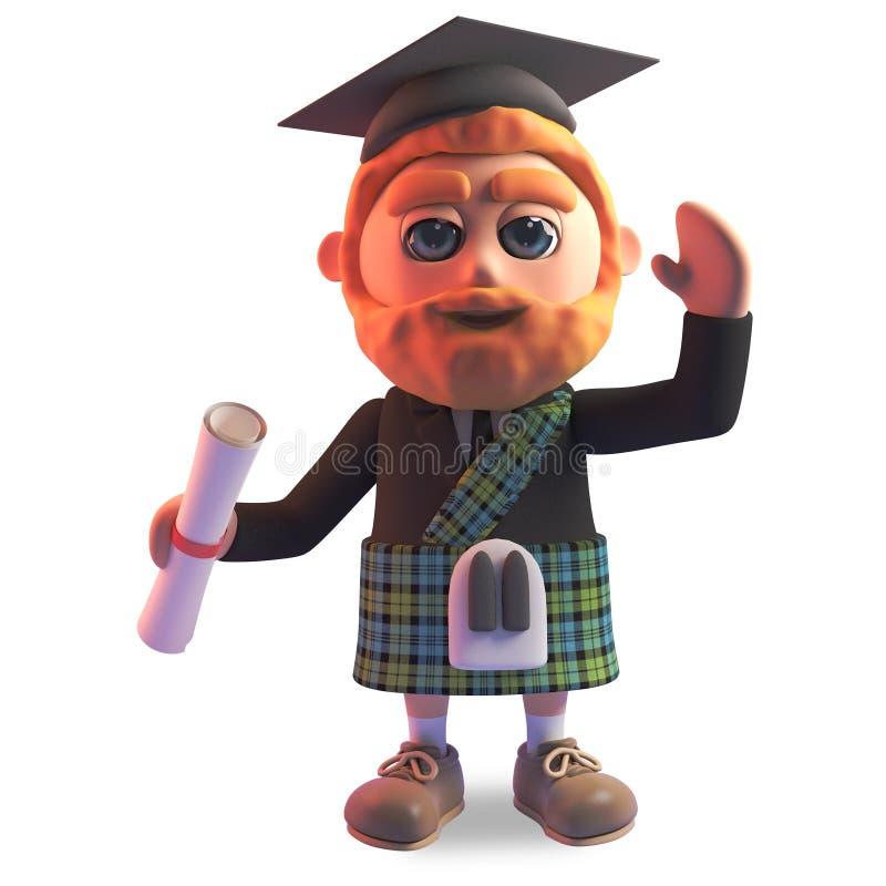 Erfolgreicher schottischer Mann in den Kilt- und Mörserbrettabsolvent, die sein Diplom, Illustration 3d halten vektor abbildung