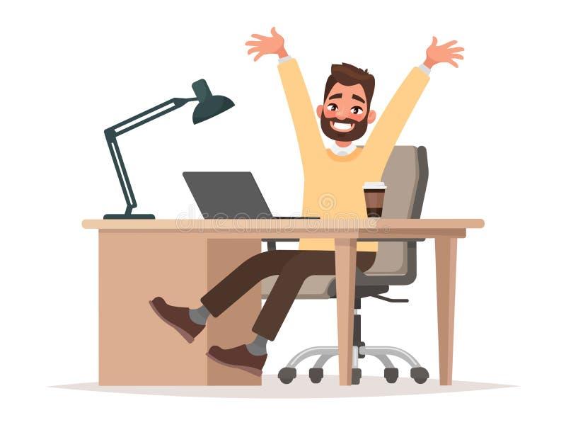 Erfolgreiches Abkommen oder gute Nachrichten Büroangestellter, Geschäftsmann hinten vektor abbildung