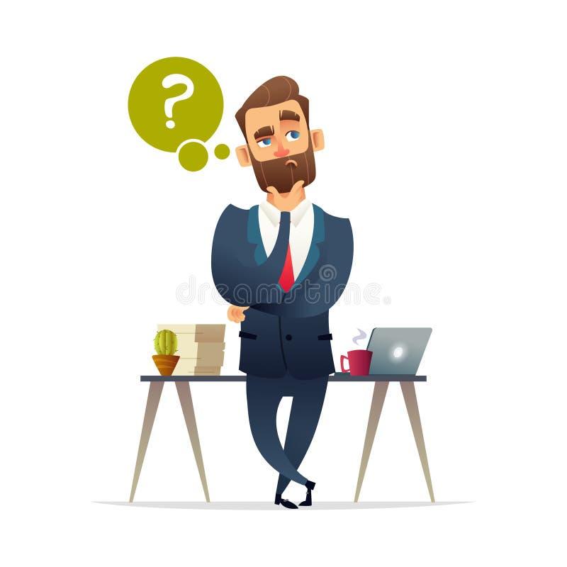 Erfolgreiches Bartgeschäftsmann-Charakterdenken Denkender Mann umgeben durch Fragezeichen Keine Transparenz vektor abbildung