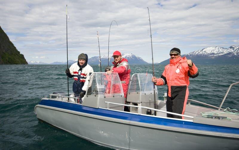 Erfolgreiches Fischen in Norwegen stockfoto