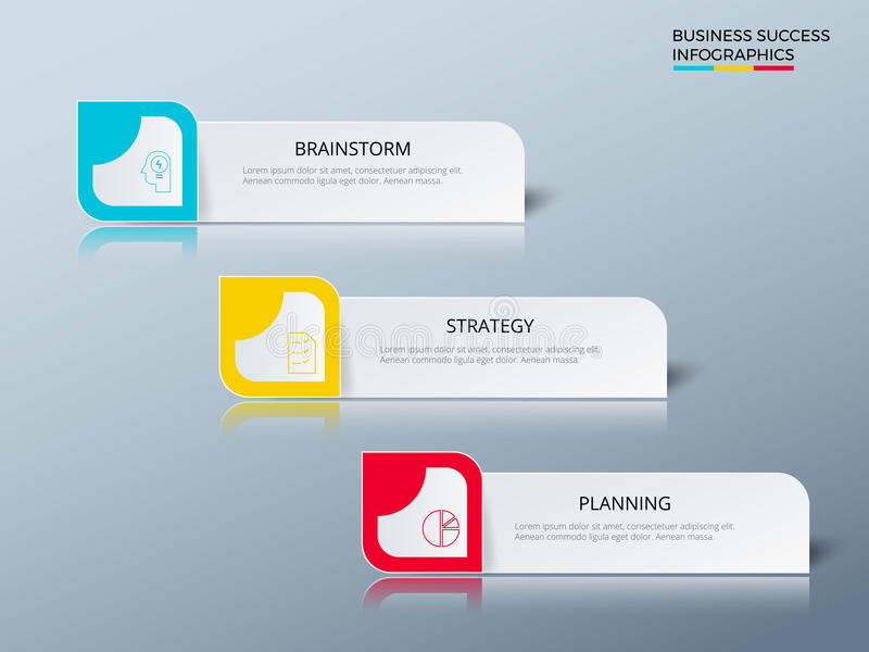 Erfolgreiches Geschäftskonzeptdesign, das infographic Schablone vermarktet Infographics mit Ikonen und Elementen stock abbildung