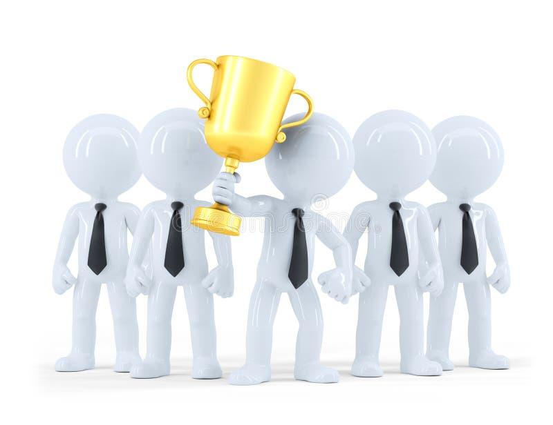 Erfolgreiches Geschäftsteam, das einen Cup hält Die goldene Taste oder Erreichen für den Himmel zum Eigenheimbesitze Enthält Besc vektor abbildung