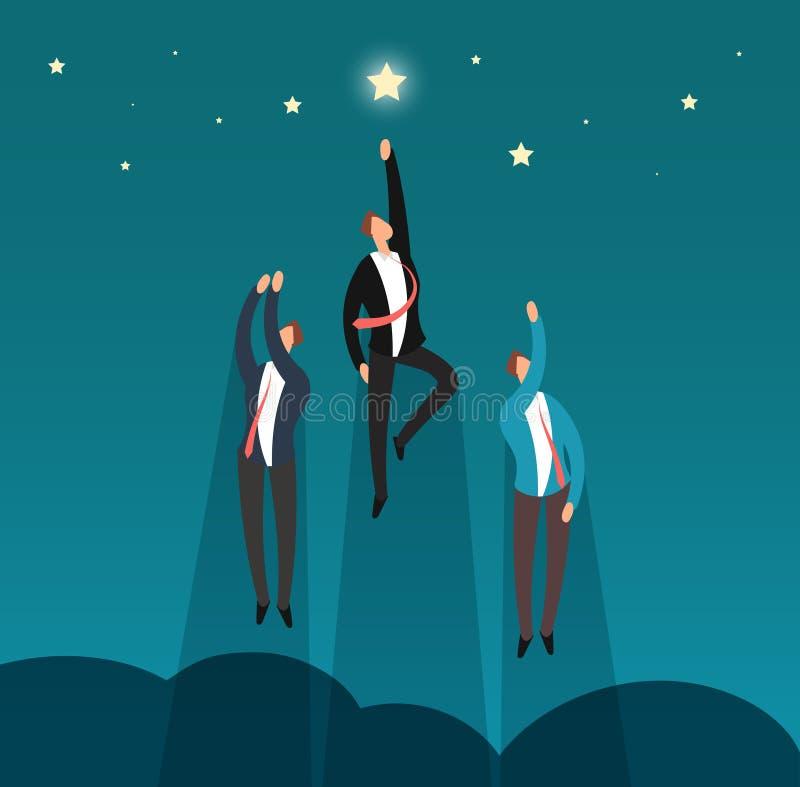 Erfolgreiches gewinnendes Geschäftsteamfliegen zu den Sternen Heldfachleute- und -führervektorkonzept vektor abbildung