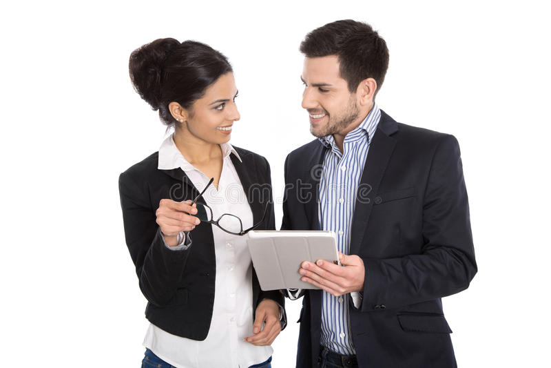 Erfolgreiches junges Geschäftsteam Mann und Frau lokalisiert über Whit lizenzfreie stockbilder