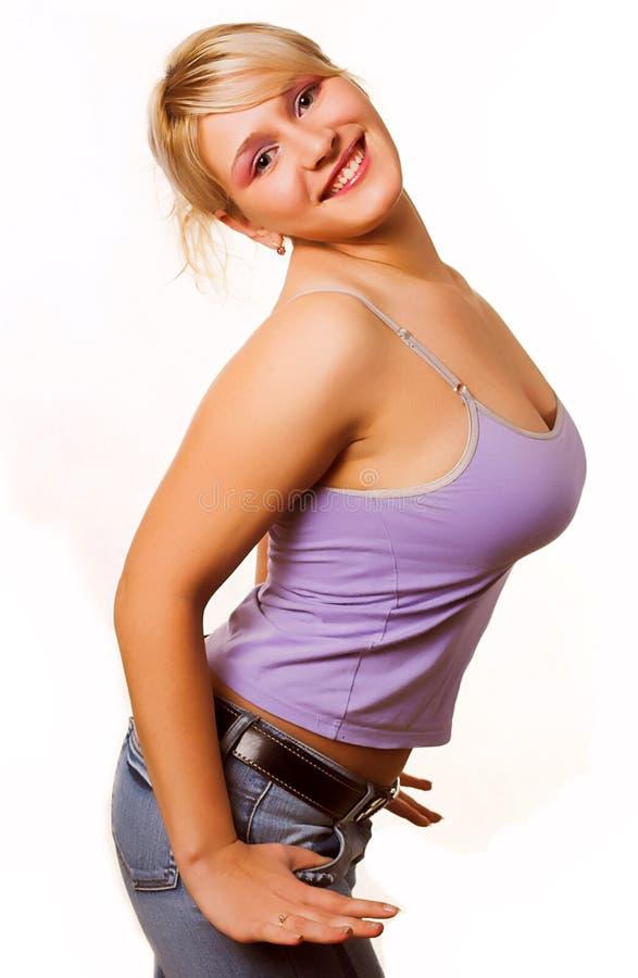 Erfolgreiches sexy Frauenlächeln stockbild