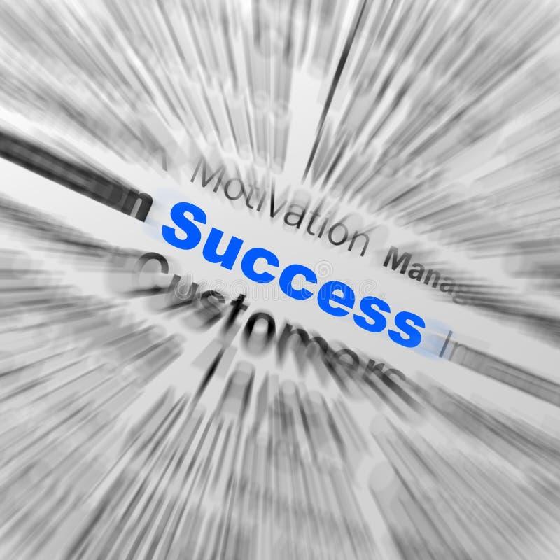 Erfolgs-Bereich-Definition zeigt Bestimmung und Führung an lizenzfreie abbildung