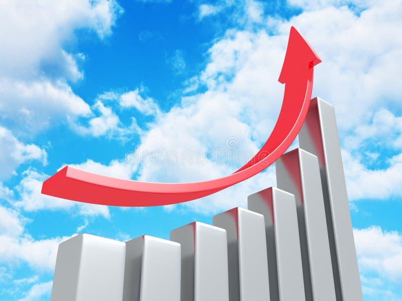 Erfolgs-Geschäfts-Diagramm mit dem Steigen herauf Pfeil auf Himmel-Hintergrund stock abbildung