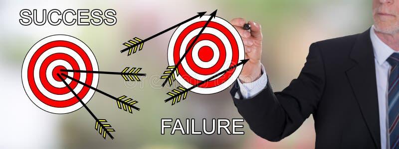 Erfolgs- und Ausfallkonzept gezeichnet von einem Geschäftsmann lizenzfreie stockfotos