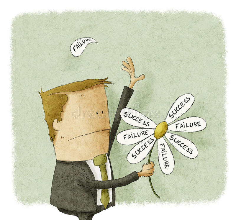 Erfolgsausfall in den Blumenblättern des Gänseblümchens lizenzfreie abbildung