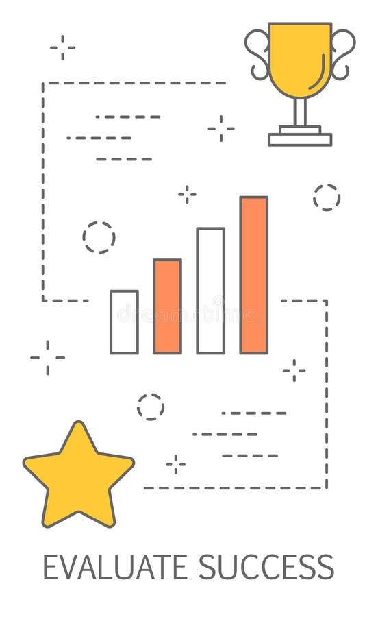 Erfolgsbewertungskonzept Erhalten der Belohnung oder des Preises für Leistung lizenzfreie abbildung