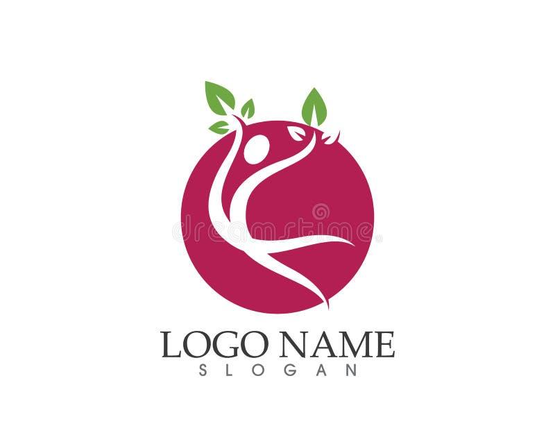 Erfolgsgesundheits-Naturleute interessieren sich Logo- und Symbolschablone stock abbildung