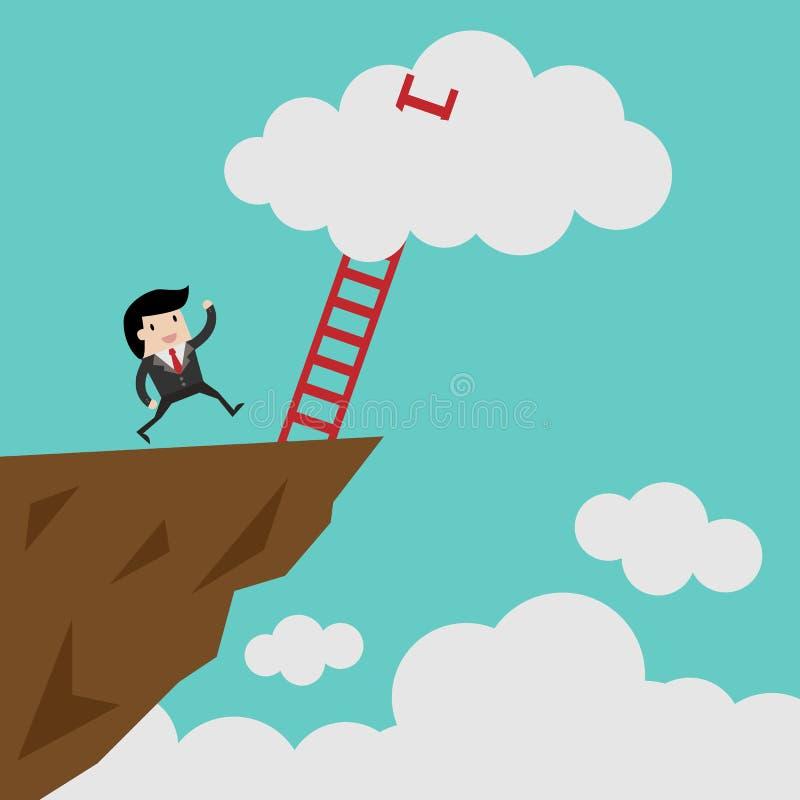 Erfolgsleiter, die führen, um sich zu bewölken und viele kurzen Geschäft, Ziel, Wettbewerb, einzigartiges, Fortschritt, Herausfor lizenzfreie abbildung