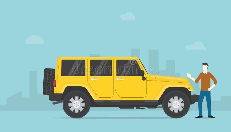 Erfolgsreicher oder erfolgreicher Geschäftsmann mit Luxauto und Stadt als Hintergrund mit moderner flacher Art - Vektor lizenzfreie abbildung