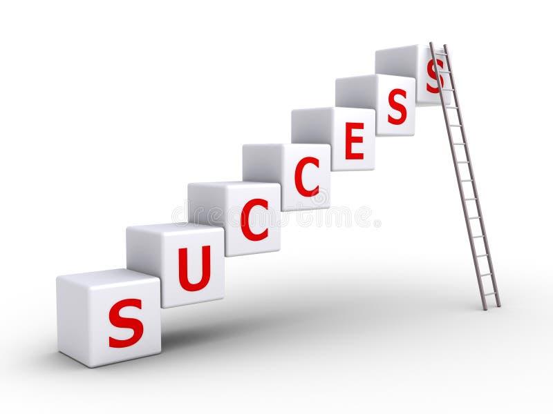 Erfolgswürfel und eine Leiter stock abbildung