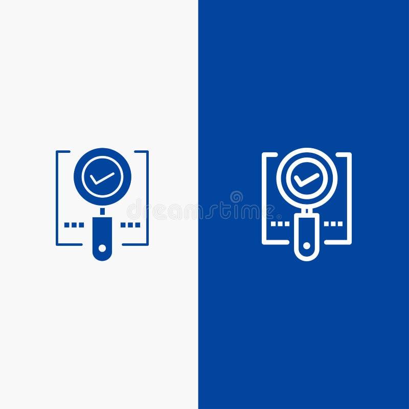 Erforschen Sie, blaue Fahne der blauen Fahne der finden Sie, des Vergrößerungsglases, des O.K.s, der Suchlinie und des Glyph fest lizenzfreie abbildung