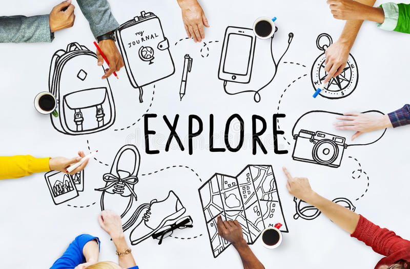 Erforschen Sie Erforschungs-Reise-Reise-Wanderer-Konzept stockfoto