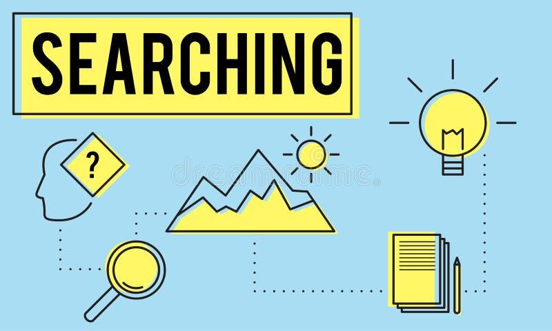 Erforschen Sie Forscher-Research Searching Study-Konzept stock abbildung